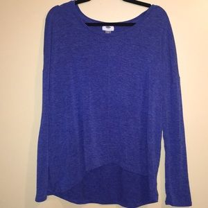 Old Navy heather blue tunic shirt, hi-lo, large